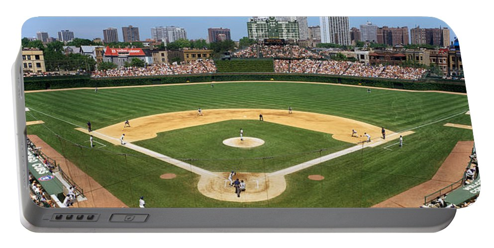 Photography Portable Battery Charger featuring the photograph Usa, Illinois, Chicago, Cubs, Baseball by Panoramic Images
