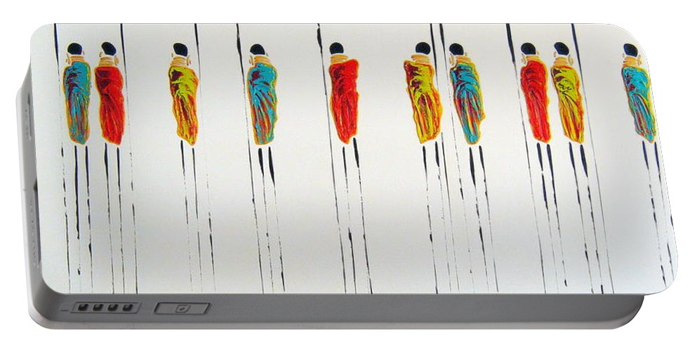 Vibrant Colourful Masai Warriors Portable Battery Charger featuring the painting Vibrant Masai Warriors - Original Artwork by Tracey Armstrong
