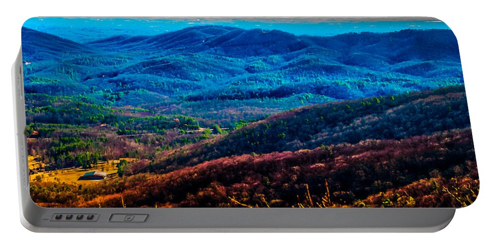 Optical Playground By Mp Ray Portable Battery Charger featuring the photograph View From Table Rock Mountain by Optical Playground By MP Ray