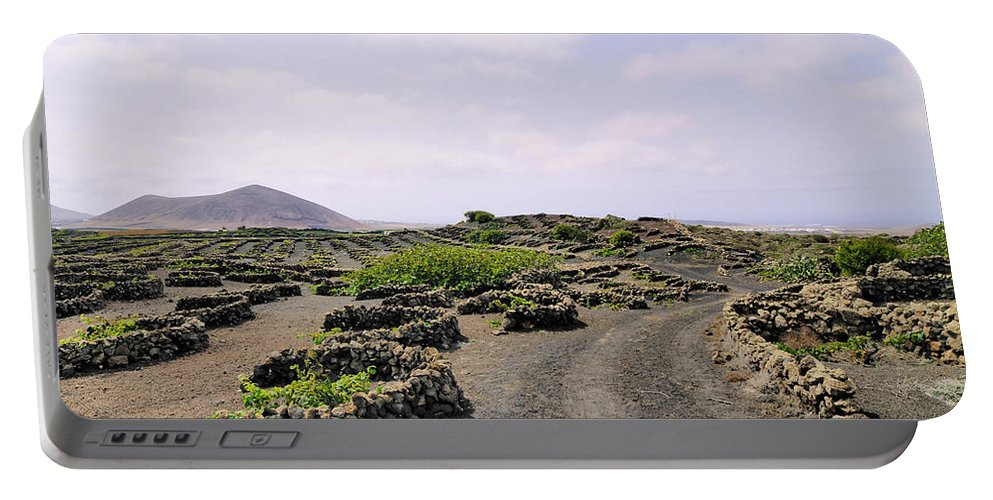 Vineyard Portable Battery Charger featuring the photograph Vineyard On Lanzarote by Karol Kozlowski