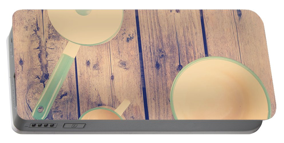 Plate Portable Battery Charger featuring the photograph Vintage Kitchen Filtered by Tim Hester