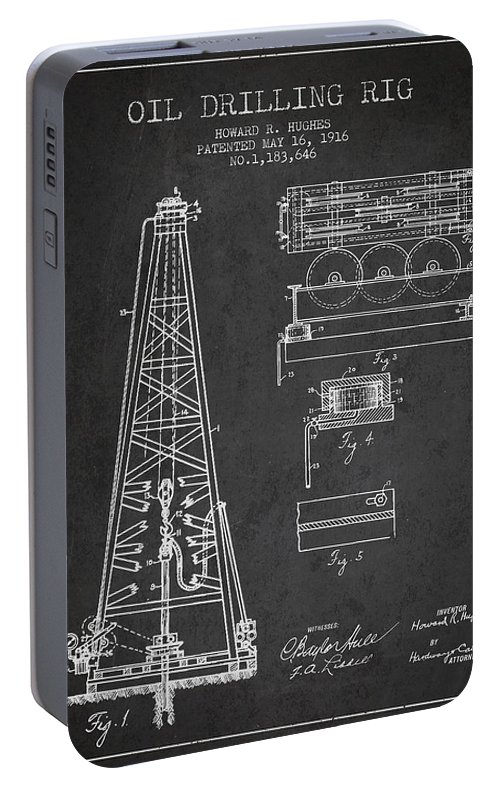 Oil Portable Battery Charger featuring the digital art Vintage Oil Drilling Rig Patent From 1916 by Aged Pixel