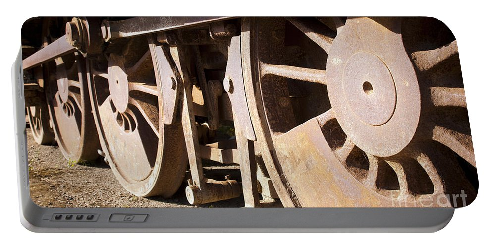 Locomotive Portable Battery Charger featuring the photograph Vintage Train by Tim Hester