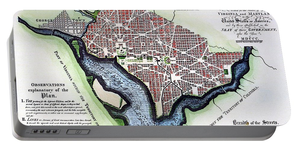 1792 Portable Battery Charger featuring the photograph Washington, Dc, Plan, 1792 by Granger