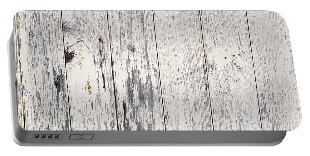 Abstract Portable Battery Charger featuring the photograph Weathered Paint On Wood by Tim Hester