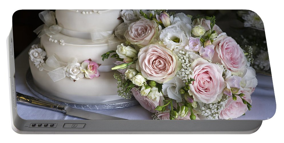 Wedding Cake Portable Battery Charger featuring the photograph Wedding Bouquet And Cake by Lee Avison