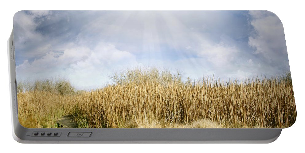 Sky Portable Battery Charger featuring the photograph Wetland Walk by Les Cunliffe
