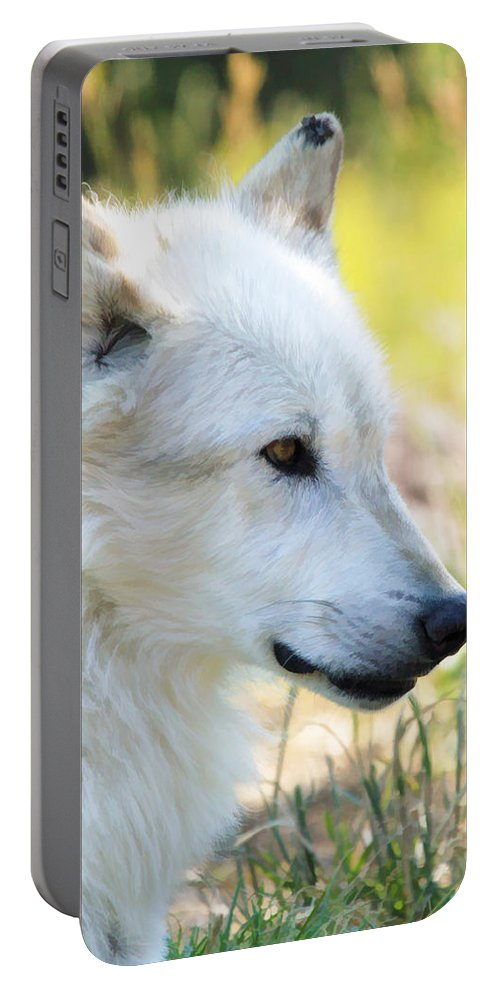 Wolves Portable Battery Charger featuring the photograph White Wolf by Athena Mckinzie