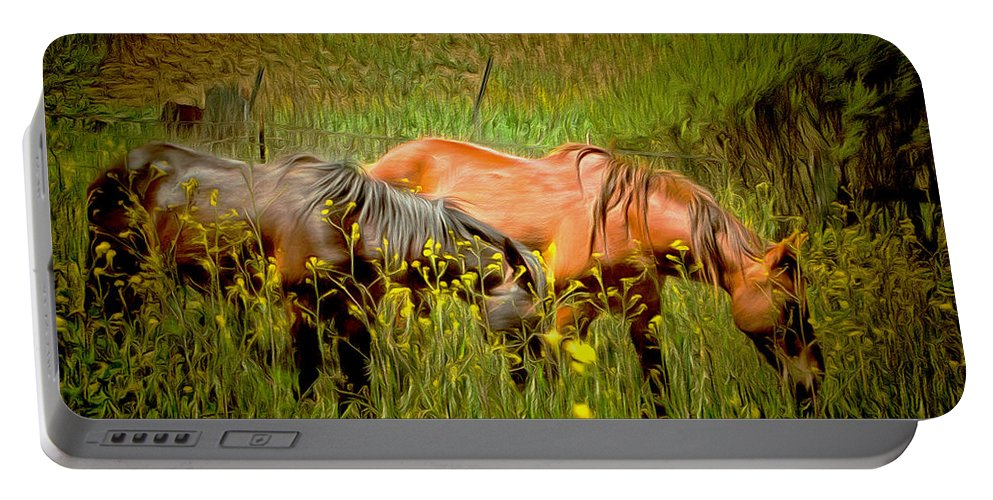 Barbara Snyder Portable Battery Charger featuring the painting Wild Horses In California Series 2 by Barbara Snyder