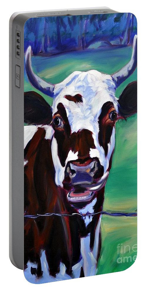 Cow Portable Battery Charger featuring the painting Willa by Sylvina Rollins
