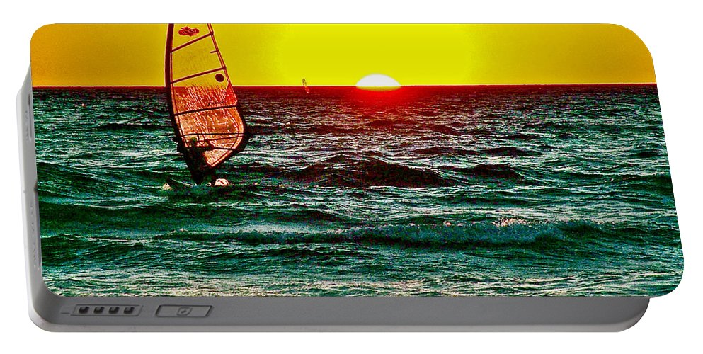 Windsurfer At Sunset On Lake Michigan From Empire Portable Battery Charger featuring the photograph Windsurfer At Sunset On Lake Michigan From Empire-michigan by Ruth Hager