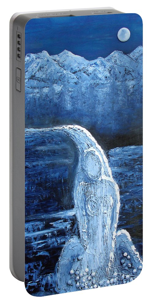 Water Portable Battery Charger featuring the mixed media Winter Goddess by Angela Stout