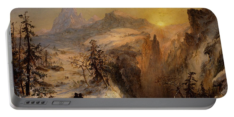 Winter In Switzerland Portable Battery Charger featuring the painting Winter In Switzerland by Jasper Francis Cropsey