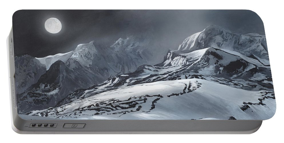 Moon Portable Battery Charger featuring the painting Winter Moon by Lynn Hansen