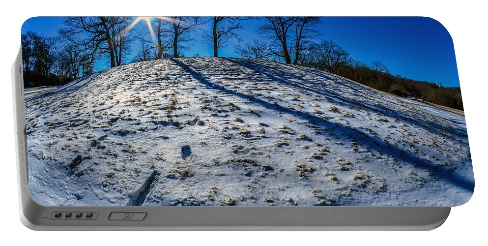 Winter Portable Battery Charger featuring the photograph Winter Scinery In The Mountains With Bllue Sky And Sunshine by Alex Grichenko