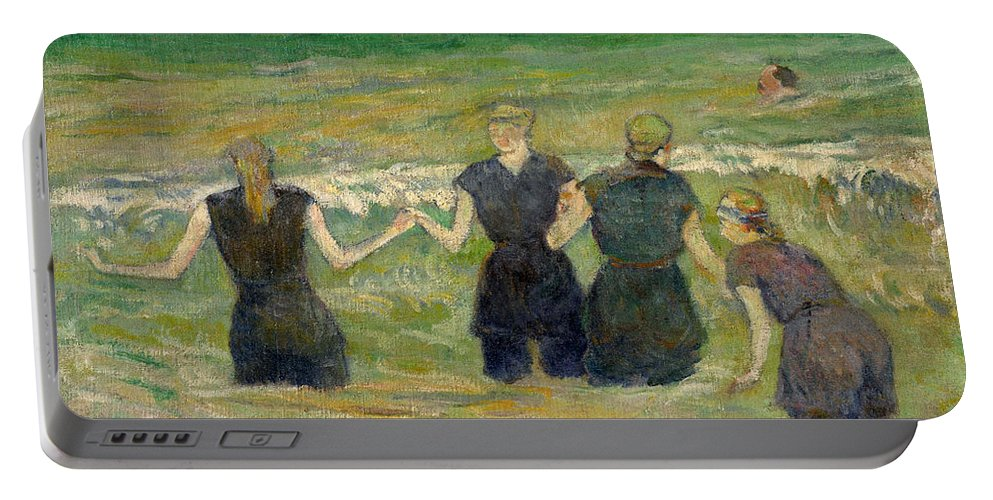 Paul Gauguin Portable Battery Charger featuring the painting Women Bathing by Paul Gauguin
