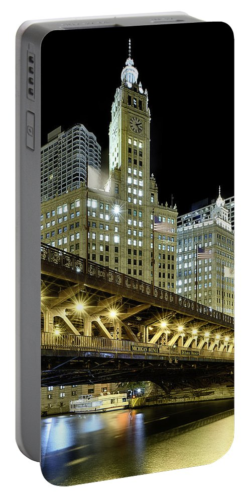 Wrigley Portable Battery Charger featuring the photograph Wrigley Building At Night by Sebastian Musial