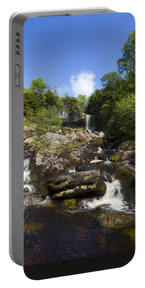 Waterfall Portable Battery Charger featuring the photograph Yorkshire Dales Waterfall by Chris Smith
