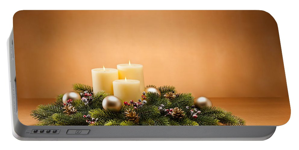 Advent Portable Battery Charger featuring the photograph Advent Wreath by U Schade