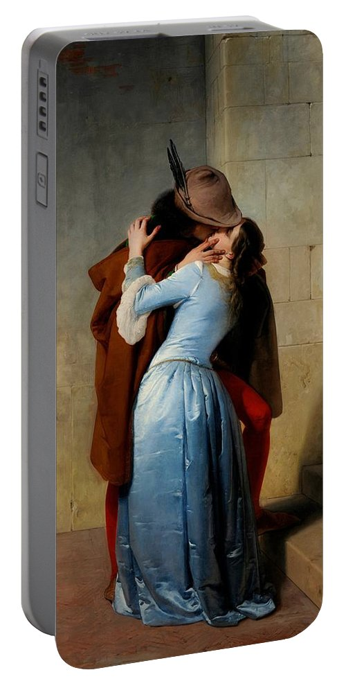 Lovers Portable Battery Charger featuring the painting The Kiss by Francesco Hayez