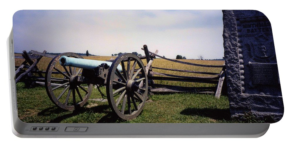 Gettysburg Portable Battery Charger featuring the photograph 10th Mass Battery - Gettysburg by Tommy Anderson