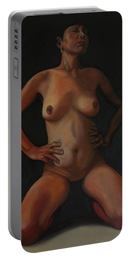 Sexual Portable Battery Charger featuring the painting 11 Am by Thu Nguyen