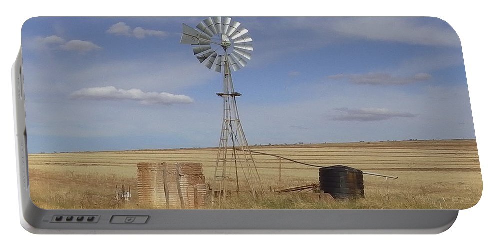 Australia Portable Battery Charger featuring the photograph Australia - Windmill In The Wheat Field by Jeffrey Shaw