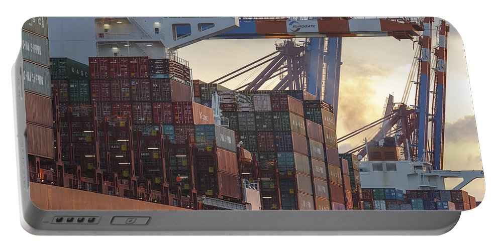 2014 Portable Battery Charger featuring the photograph Hamburg Harbor Container Terminal by Jannis Werner