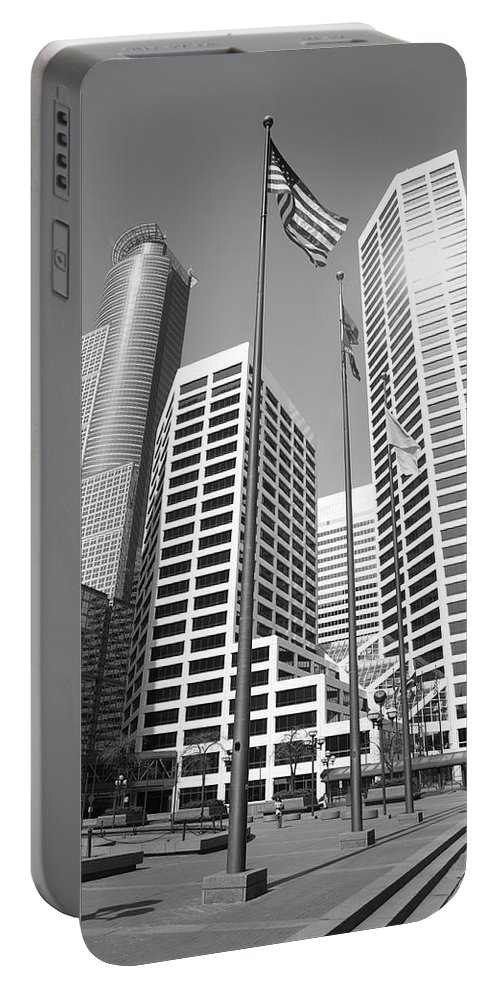 America Portable Battery Charger featuring the photograph Minneapolis Skyscrapers by Frank Romeo