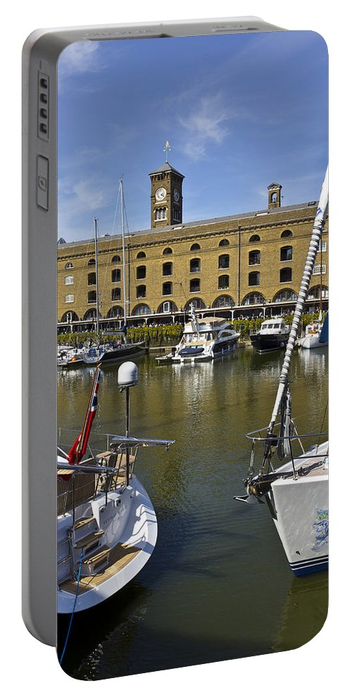 River Thames Portable Battery Charger featuring the photograph St Katherines Dock London by David Pyatt