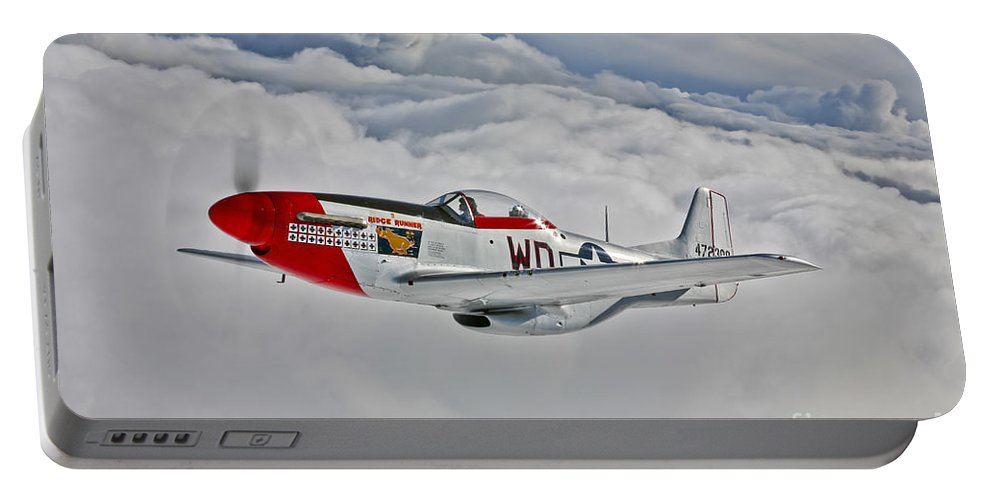 Horizontal Portable Battery Charger featuring the photograph A P-51d Mustang In Flight by Scott Germain