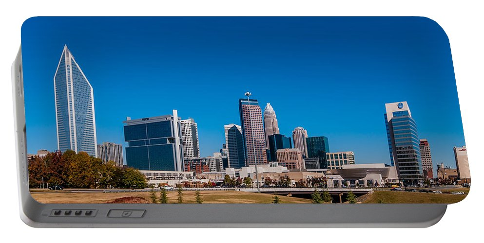 Autumn Portable Battery Charger featuring the photograph Charlotte City Skyline Autumn Season by Alex Grichenko