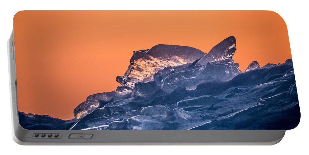 Blue Portable Battery Charger featuring the photograph Icy Sunrise by Patti Deters