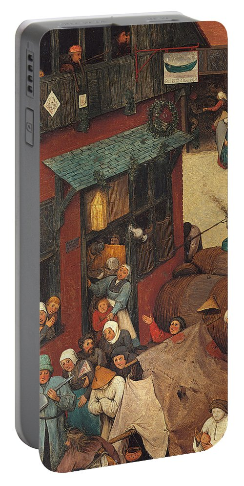 Allegory Portable Battery Charger featuring the painting The Fight Between Carnival And Lent by Pieter the Elder Bruegel