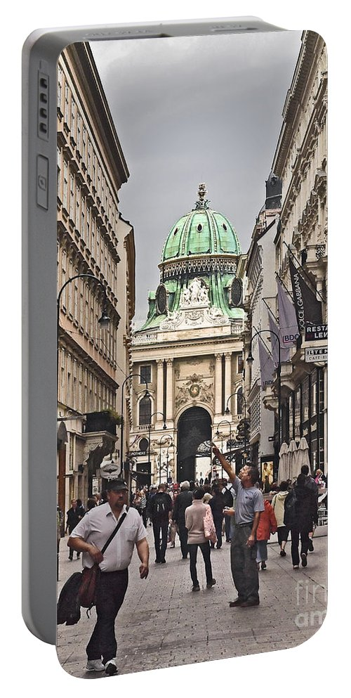Kohlmarkt Portable Battery Charger featuring the photograph Vienna Austria by Howard Stapleton