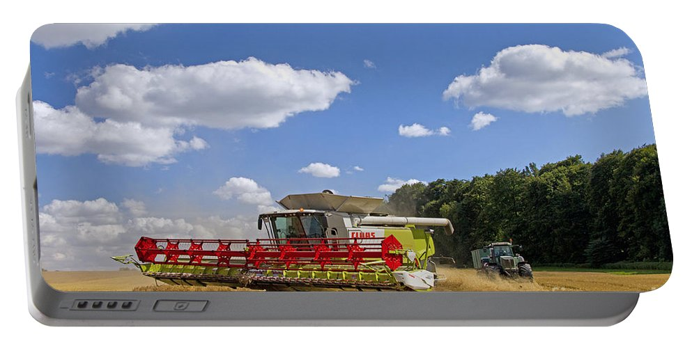 Combine Harvester Portable Battery Charger featuring the photograph 130201p023 by Arterra Picture Library
