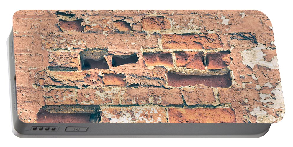 Absent Portable Battery Charger featuring the photograph Brick Wall by Tom Gowanlock