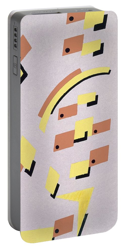 Constructivist Portable Battery Charger featuring the painting Design From Nouvelles Compositions Decoratives by Serge Gladky