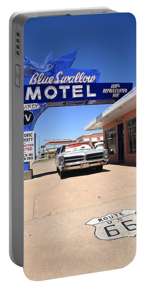 66 Portable Battery Charger featuring the photograph Route 66 - Blue Swallow Motel by Frank Romeo