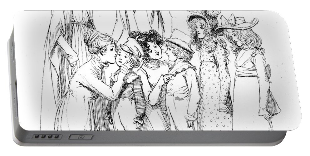 Arrival; Gardiners; Illustration; Pride And Prejudice; Jane Austen; Edition; Illustrated; Family; Arriving; Longbourn; Cousins; Cousin; Aunt; Uncle; Gardiner; Elizabeth Bennet; Bennett; Greeting; Welcoming; Georgian; Regency; Children; Boys; Girls; Costume; Visit; Visiting Portable Battery Charger featuring the drawing Scene From Pride And Prejudice By Jane Austen by Hugh Thomson
