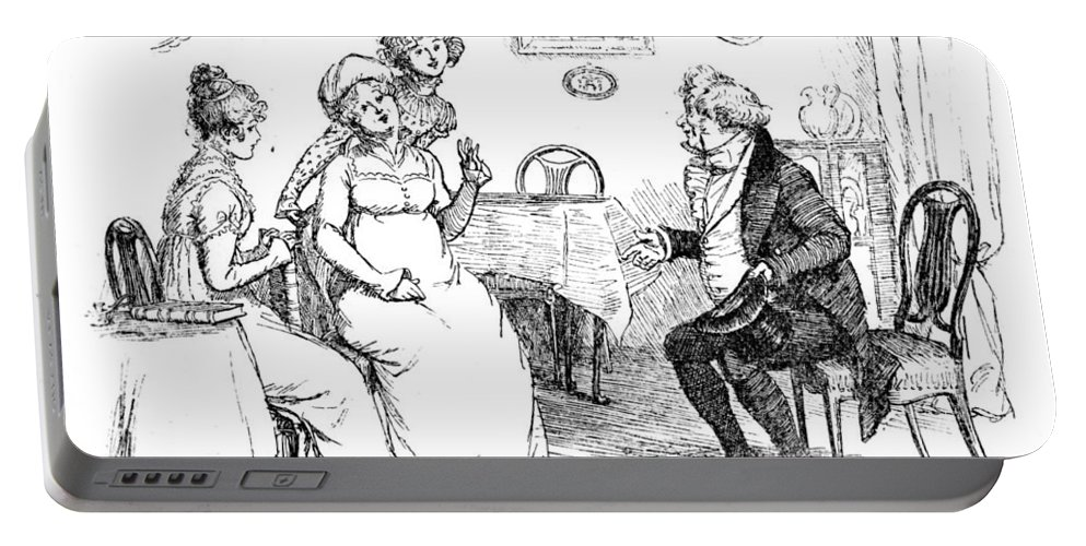 Protested He Must Be Entirely Mistaken; Illustration; Pride And Prejudice Jane Austen; Sir William Lucas; Mrs; Bennet; Charlotte Portable Battery Charger featuring the drawing Scene From Pride And Prejudice By Jane Austen by Hugh Thomson