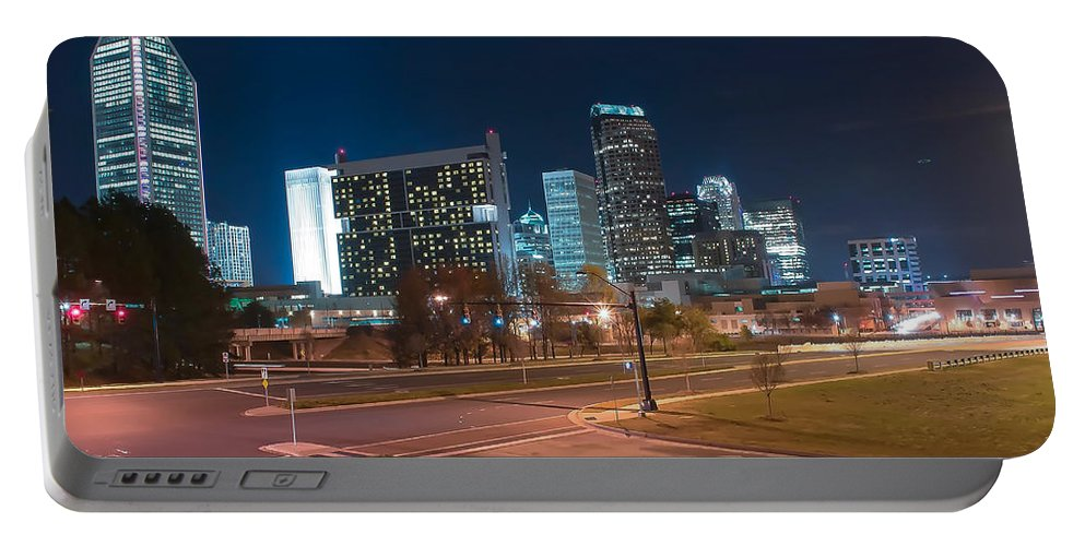 District Portable Battery Charger featuring the photograph Skyline Of Uptown Charlotte North Carolina At Night. by Alex Grichenko