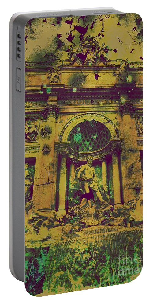 Trevi Fountain Portable Battery Charger featuring the digital art Trevi Fountain by Marina McLain