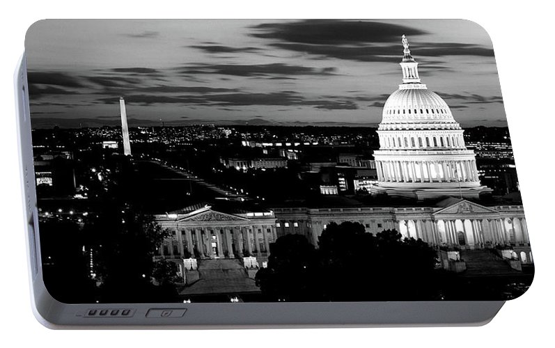 Photography Portable Battery Charger featuring the photograph High Angle View Of A City Lit by Panoramic Images
