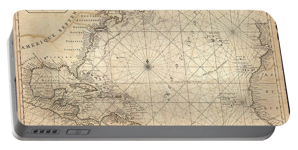 This Is A Rare And Remarkable 1693 Nautical Chart Of The Atlantic Ocean By Pierre Mortier. Covers The North Atlantic From Rough 5 Degree South Latitude To Roughly 56 Degrees North Latitude. Includes Much Of North America Portable Battery Charger featuring the photograph 1683 Mortier Map Of North America The West Indies And The Atlantic Ocean by Paul Fearn