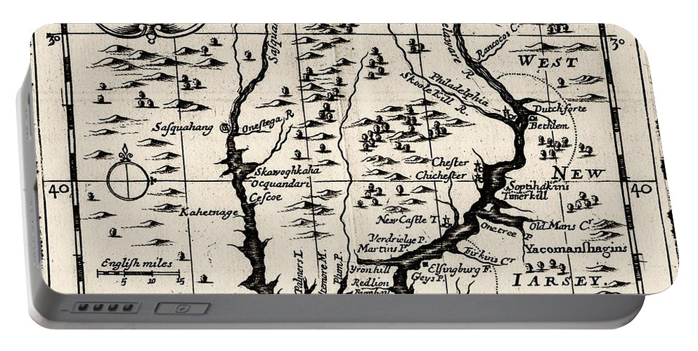 1690 Pennsylvania Map Portable Battery Charger featuring the digital art 1690 Pennsylvania Map by Bill Cannon