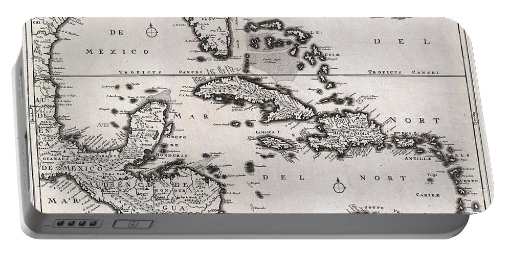 1696 Danckerts Map Of Florida The West Indies And The Caribbean: An Absolutely Stunning Example Of Cornelius Danckerts' Important 1696 Map Of Florida Portable Battery Charger featuring the photograph 1696 Danckerts Map Of Florida The West Indies And The Caribbean by Paul Fearn