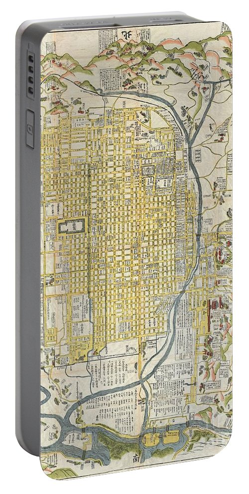 1696 Genroku 9 Early Edo Japanese Map Of Kyoto Japana Rare 1696 Japanese Woodblock Map Of Kyoto Portable Battery Charger featuring the photograph 1696 Genroku 9 Early Edo Japanese Map Of Kyoto Japan by Paul Fearn