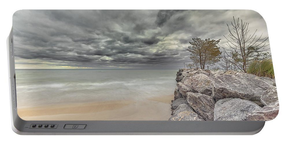 Lake Michigan Portable Battery Charger featuring the photograph Breakwater by Peter Lakomy