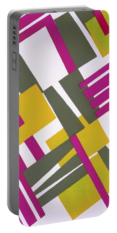 Bright Portable Battery Charger featuring the painting Design From Nouvelles Compositions Decoratives by Serge Gladky